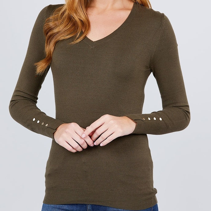 All the Things You Are Viscose Sweater in Olive