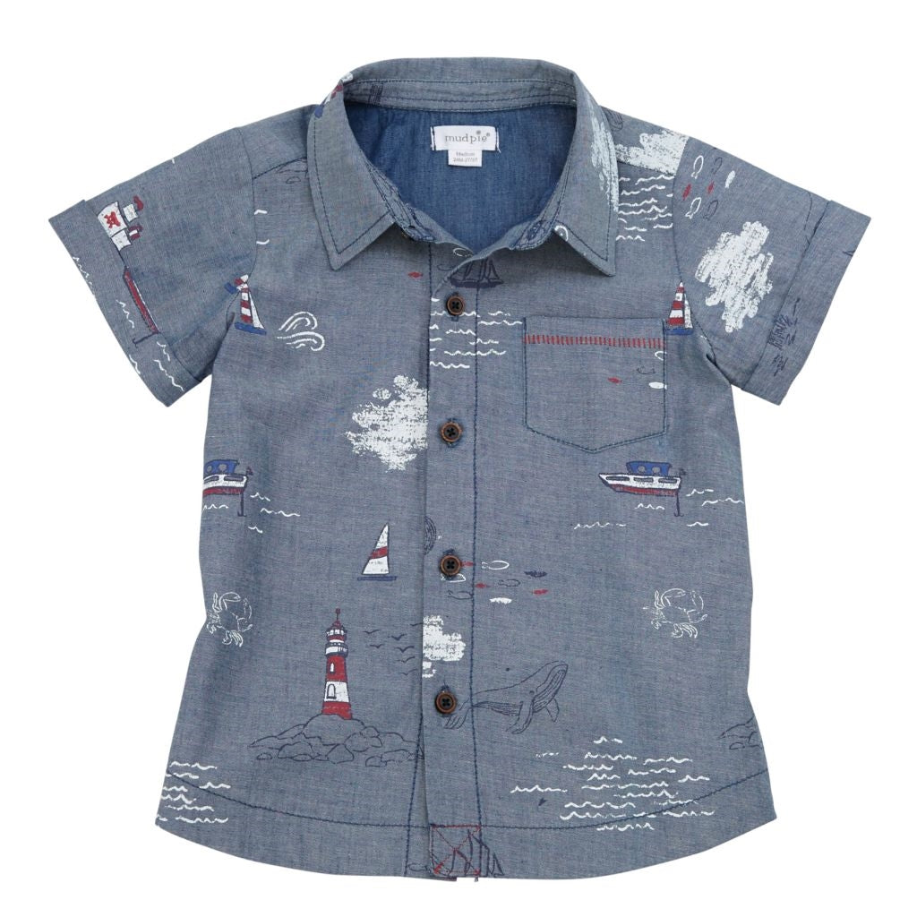 Sail Away Baby Boy Button Up