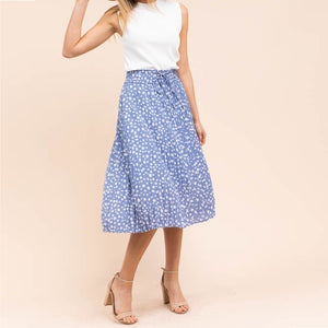 Seeing Spots Pleated Skirt in Dusty Blue