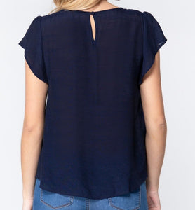 Everyday Elegance Woven Blouse in Navy