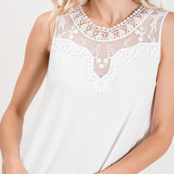Love is Here to Stay Lace Detailed Top in White