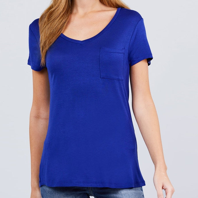 V is for Victory Relaxed Pocket Tee in Royal Blue