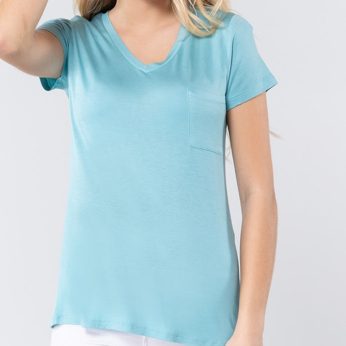 V is for Victory Relaxed Pocket Tee in Blue