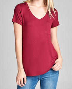 V is for Victory Relaxed Pocket Tee in Burgundy