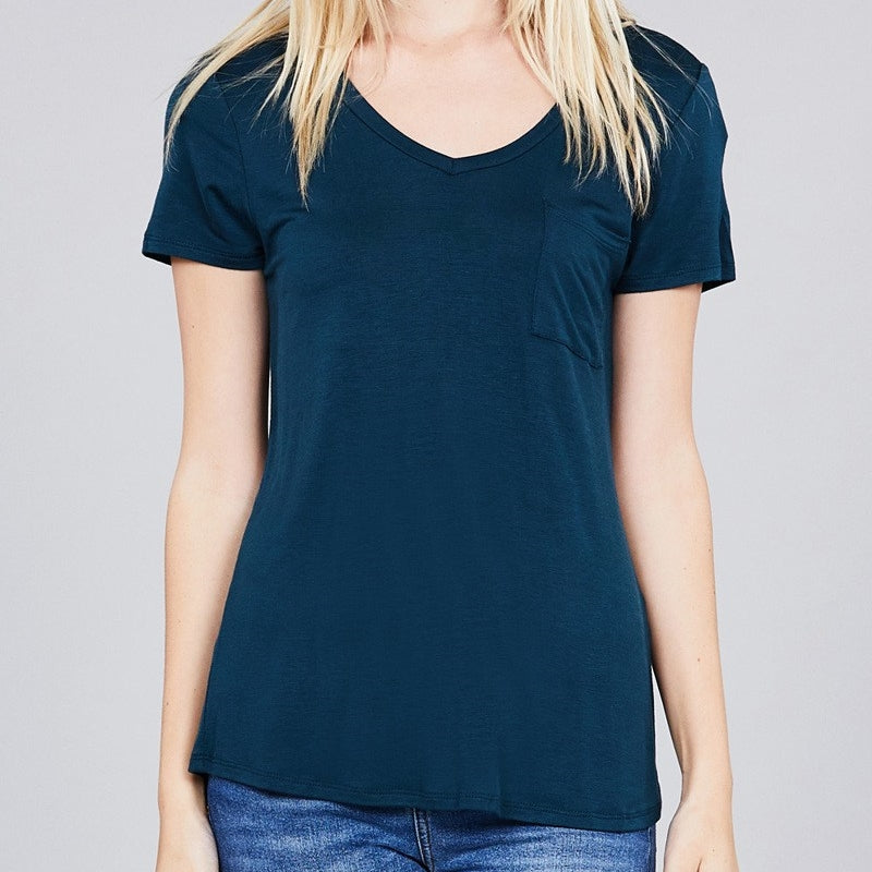 V is for Victory Relaxed Pocket Tee in Dk Teal
