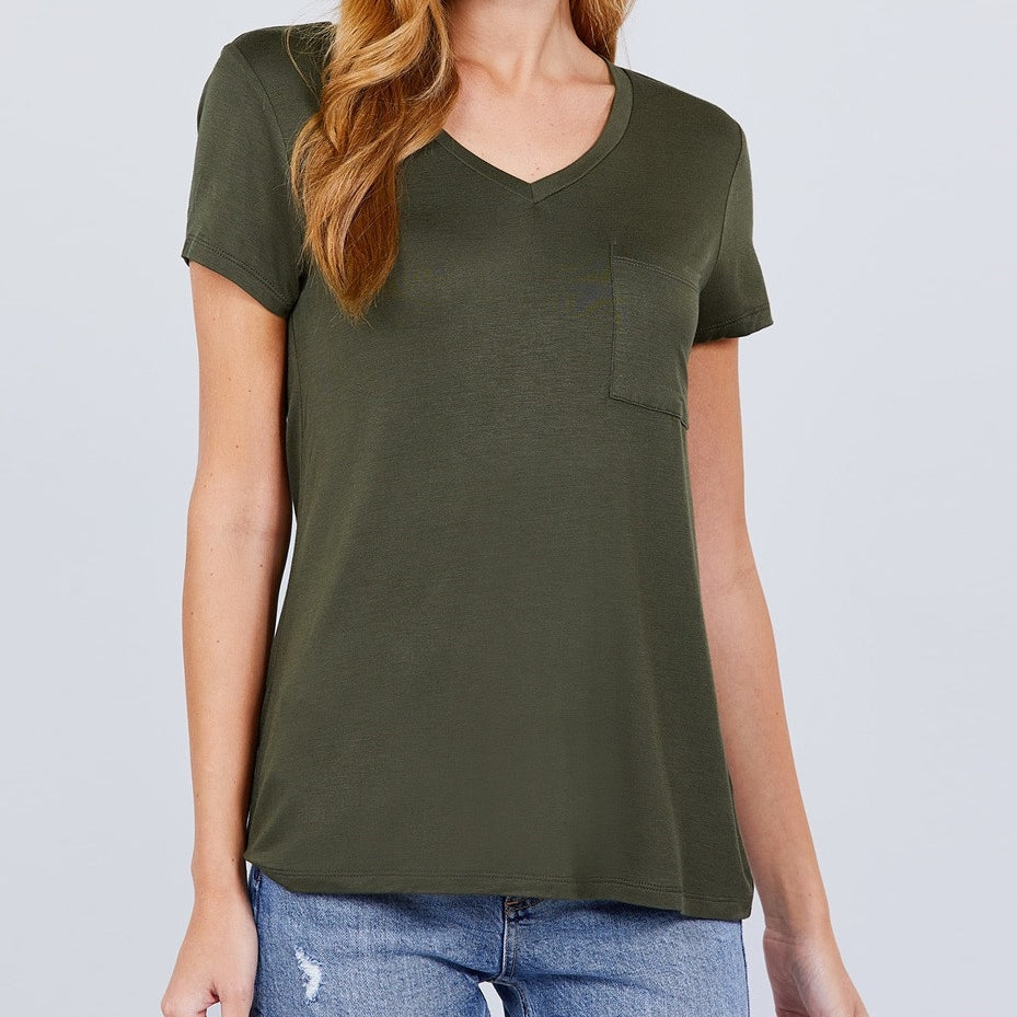 V is for Victory Relaxed Pocket Tee in Olive