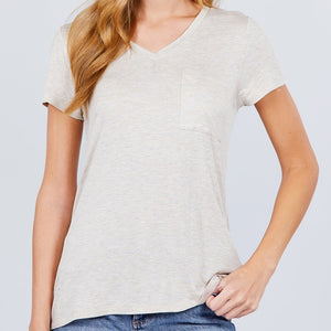 V is for Victory Relaxed Pocket Tee in Oatmeal