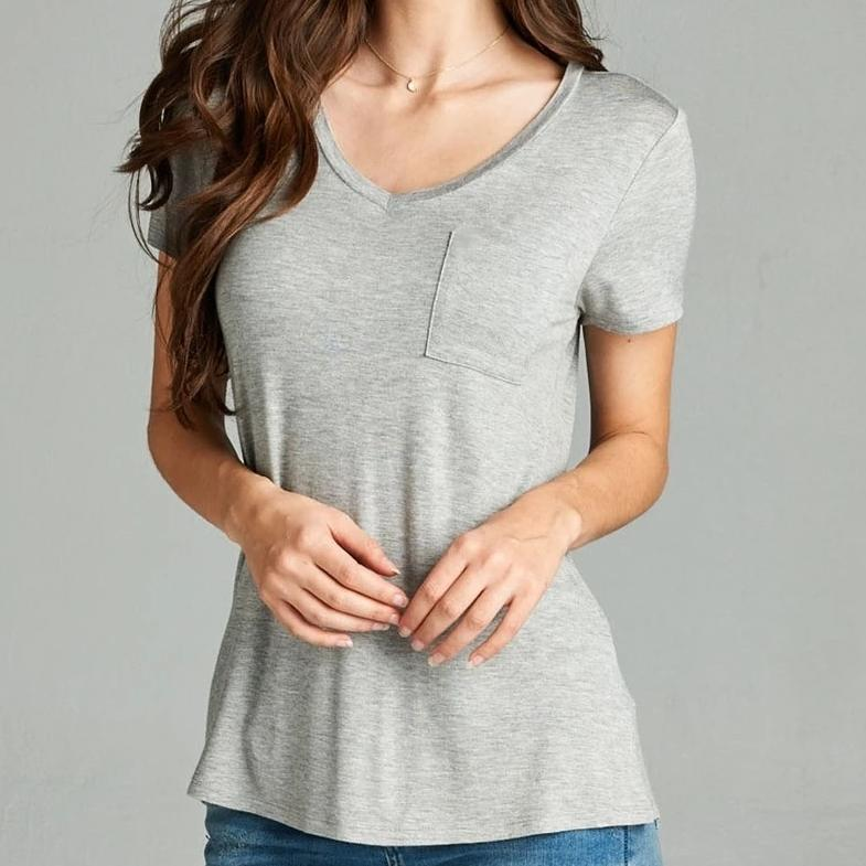 V is for Victory Relaxed Pocket Tee in Gray