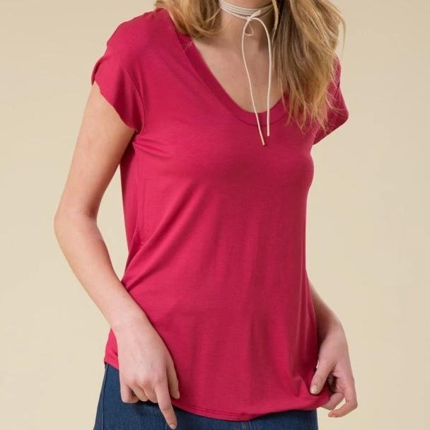 Afternoon Breeze Viscose Top in Berry