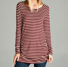 Load image into Gallery viewer, Burgundy Striped Top
