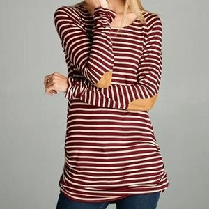 Burgundy Striped Top