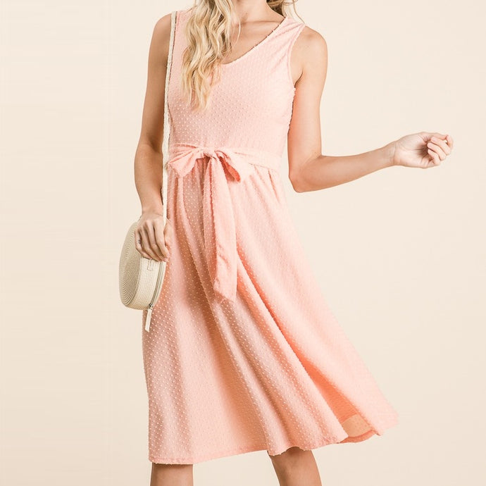 Swinging Down the Lane Swiss Dot Dress in Peach