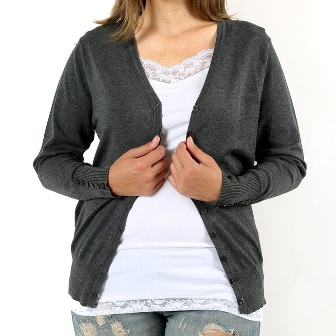 Classic Catherine Cardigan in Charcoal