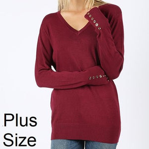 My Kind of Sweater Viscose Sweater in Burgundy PLUS