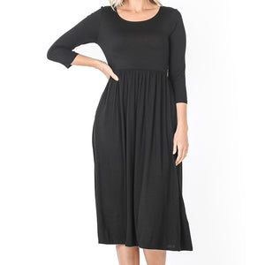 Up a Lazy River Viscose Dress in Black