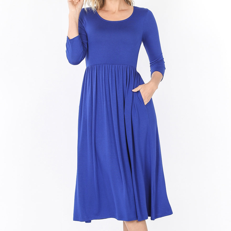 Up a Lazy River Viscose Dress in Blue