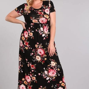 Full Bloom Floral Maxi Dress in Black PLUS