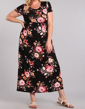 Load image into Gallery viewer, Black Floral Maxi Dress
