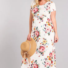 Load image into Gallery viewer, Ivory Floral Maxi Dress