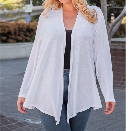 Face the Music Draped Cardigan in Ivory PLUS