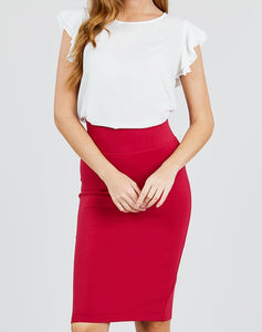 Serious Business Ponte Pencil Skirt in Deep Red