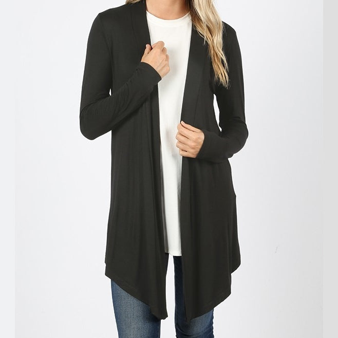 Black Draped Cardigan