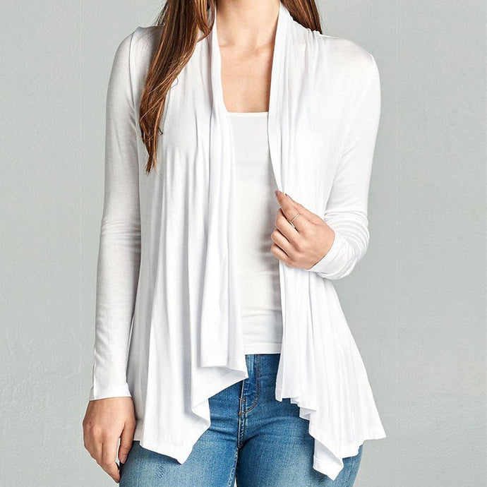 On an Evening in Roma Open Drape Cardigan in Ivory