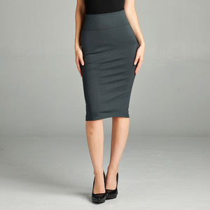 Serious Business Ponte Pencil Skirt in Dark Gray