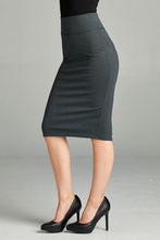 Load image into Gallery viewer, Serious Business Ponte Pencil Skirt in Dark Gray