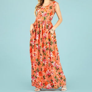 Ray of Sunshine Bubble Crepe Maxi in Coral
