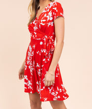 Load image into Gallery viewer, Meet Me Outside Floral Wrap Dress in Red