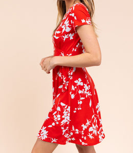 Meet Me Outside Floral Wrap Dress in Red