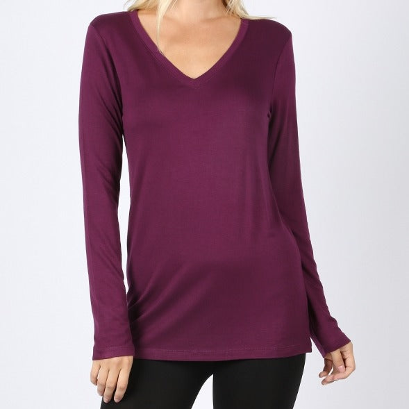 Classic Comfort Rayon V-Neck Top in Plum