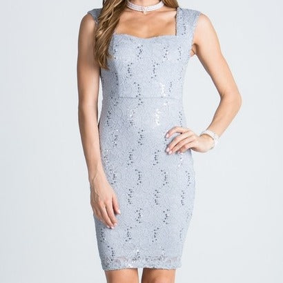Party Time Lace Sequin Dress in Silver
