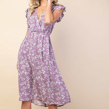 Load image into Gallery viewer, Fields of Lavender Floral Ruffle Dress