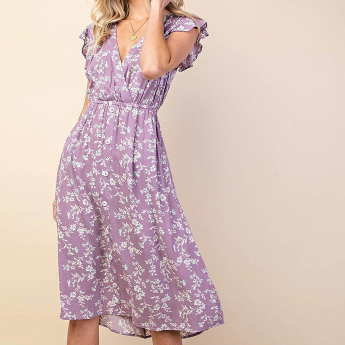 Fields of Lavender Floral Ruffle Dress