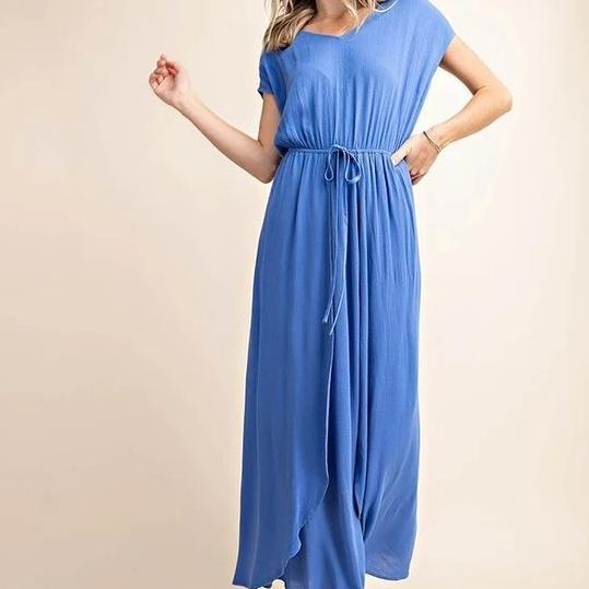 Under Paris Skies Wrap Maxi Dress in Blue