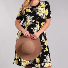 Load image into Gallery viewer, Full Bloom Floral Dress in Black PLUS
