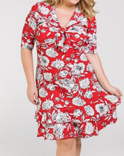 Load image into Gallery viewer, Feeling Flirty Floral Dress in Red PLUS