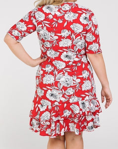 Feeling Flirty Floral Dress in Red PLUS