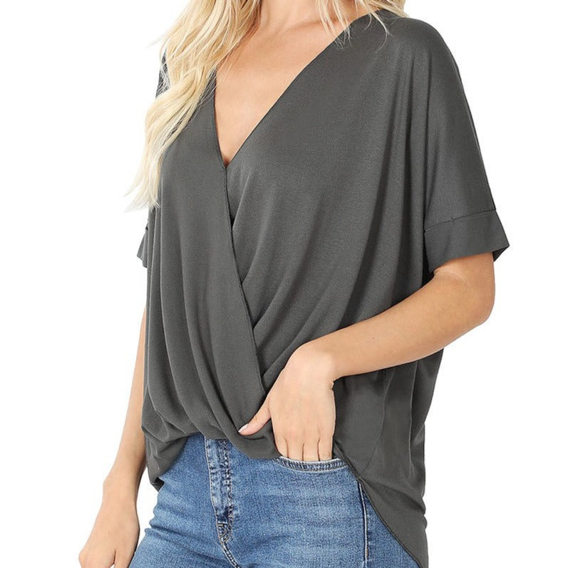 Stormy Weather Draped Front Top in Gray