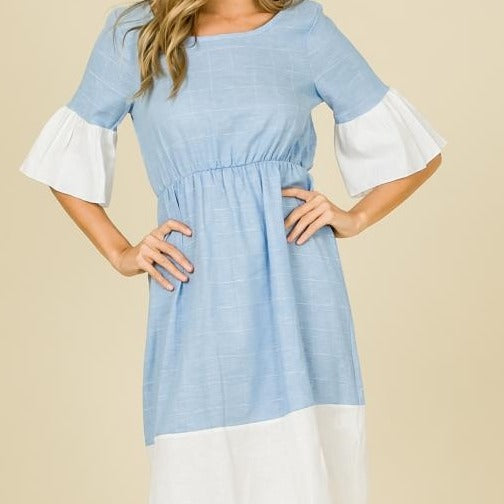 Alice in Wonderland Linen Chambray Dress