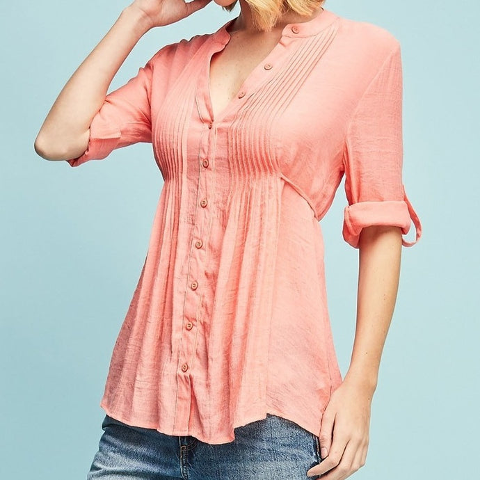 Love Walked In Crinkle Button Down Blouse in Coral