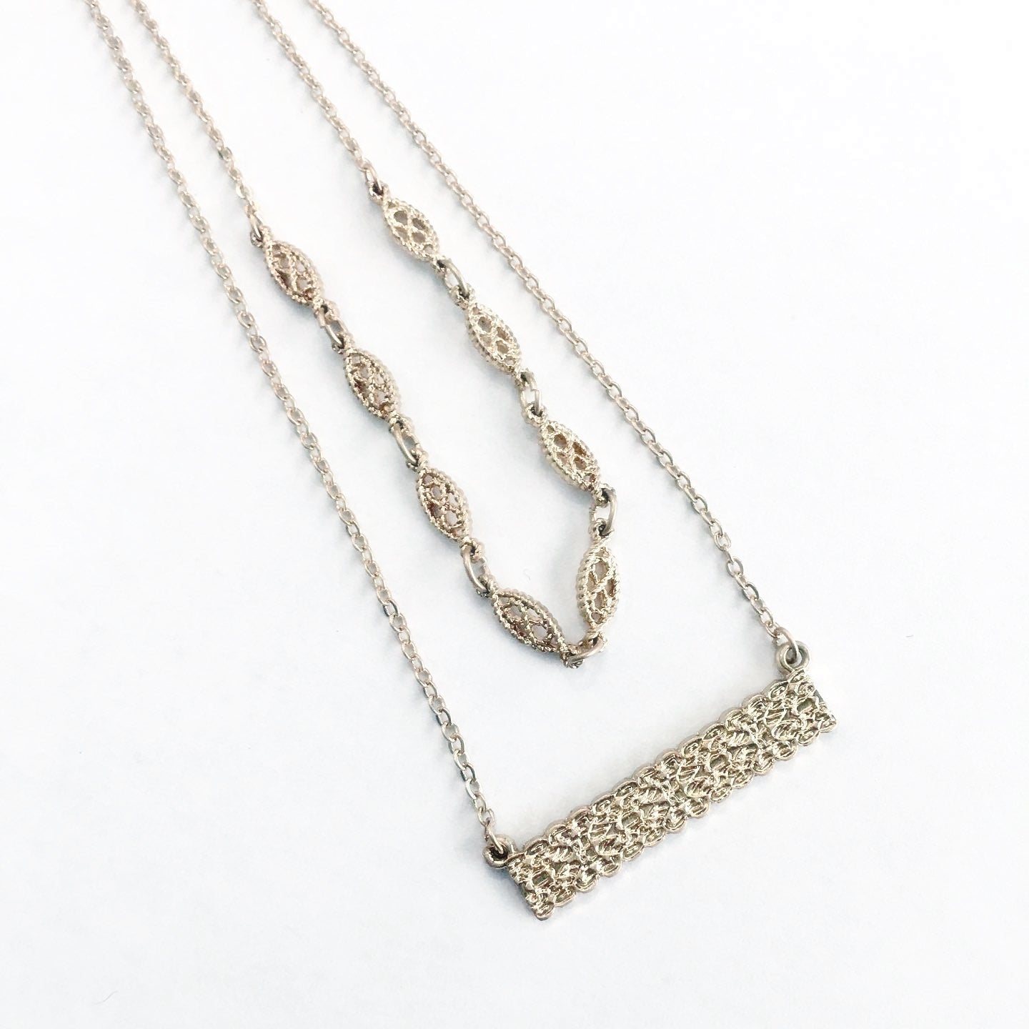 Double Take Layered Filigree Necklace