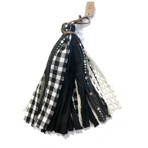 Grab Your Keys Fabric Tassel Keychain in Black