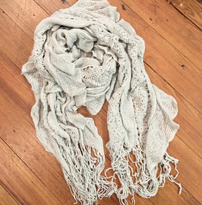 Knitted Textured Scarf in Gray