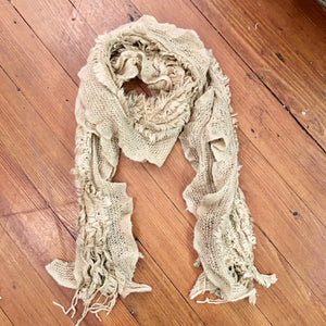 Faux Fur Knitted Scarf in Tan
