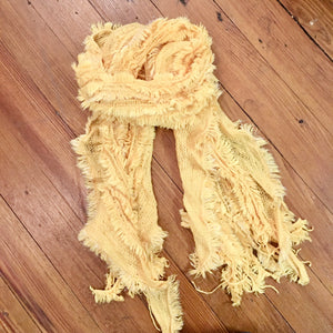 Sparkle Thread Knitted Scarf in Yellow