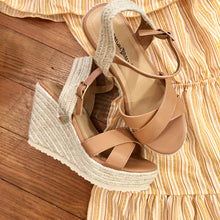 Load image into Gallery viewer, Roman Holiday Wedge Sandals in Camel