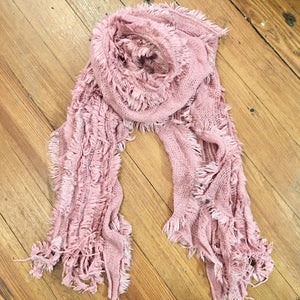 Sparkle Thread Knitted Scarf in Pink